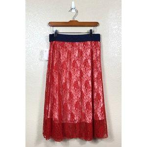 Lularoe Lola Lace Overlay Skirt NWT